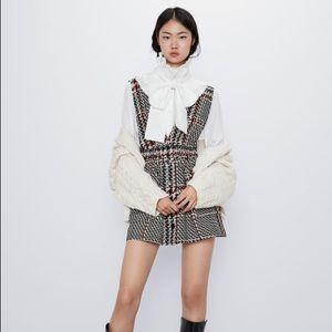 Zara plaid-pinafore dress